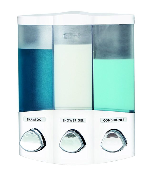 soap dispenser for the shower with three compartments