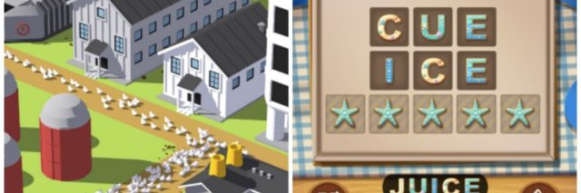 screenshots of egg inc and word cookies games