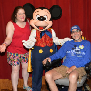 With Mickey at Walt Disney World, July 2014.