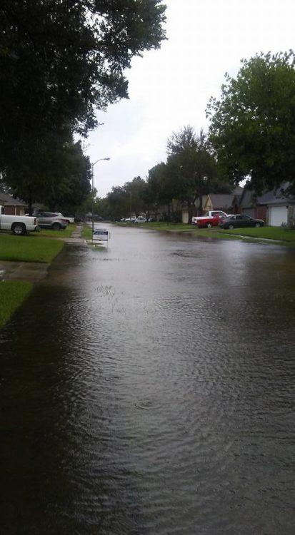a street flooded after a hurricane