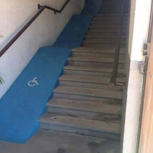 Terrible ramp alongside stairs that no one could actually use.