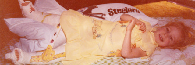 Karin in her body cast at age 4.