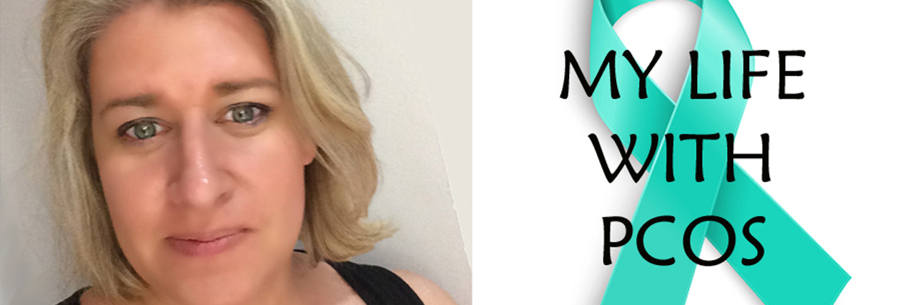 "Two images side by side, one of the writer, one of a teal ribbon that reads, ""My life with PCOS."""