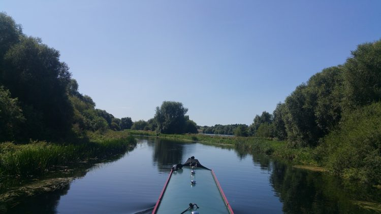 narrow-boating on a river