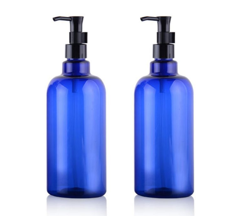 blue pump bottles