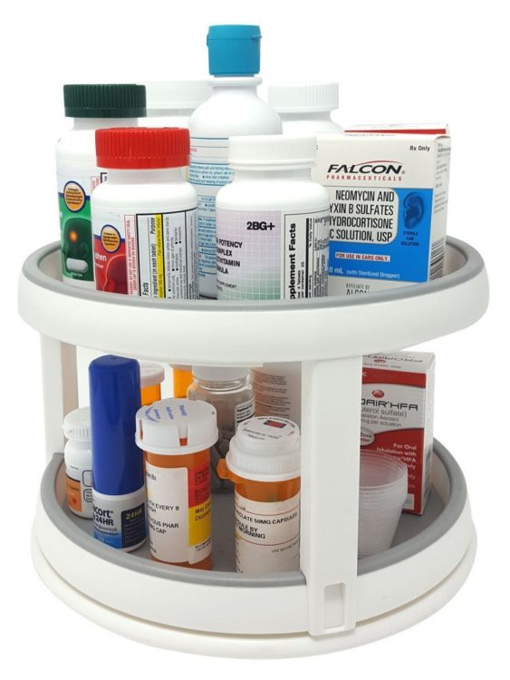 two-tiered medication turntable