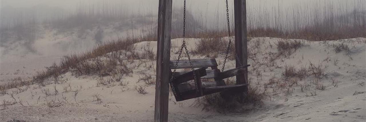 bench swing on the beach
