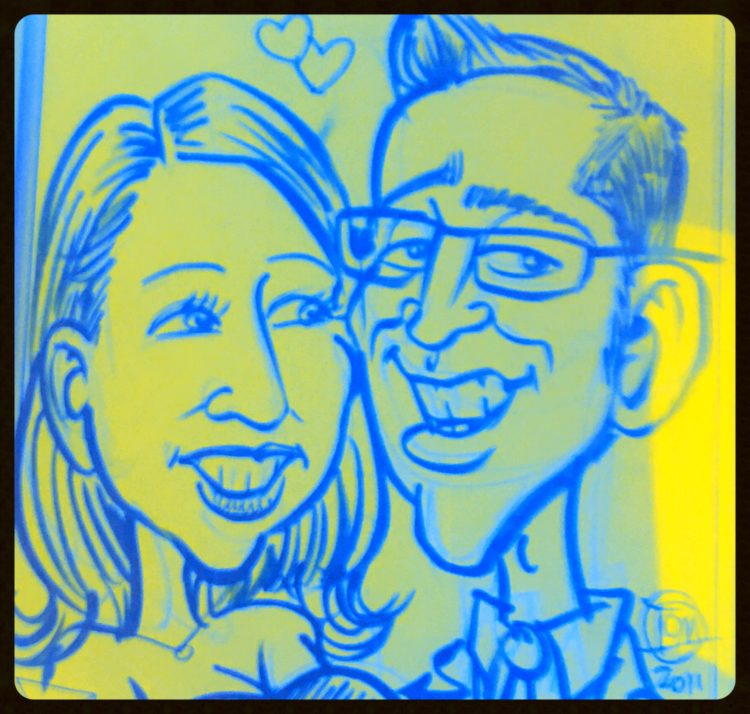 caricature drawing of man and woman