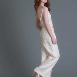 woman modeling in a white outfit