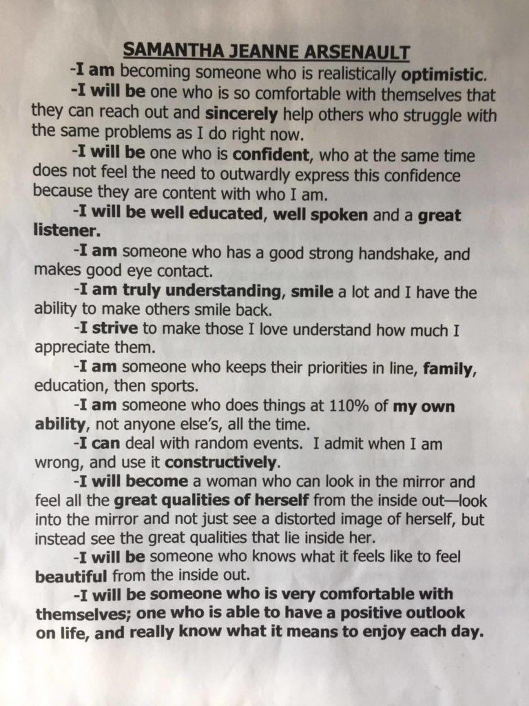inspirational letter from gold medalist with mental illness