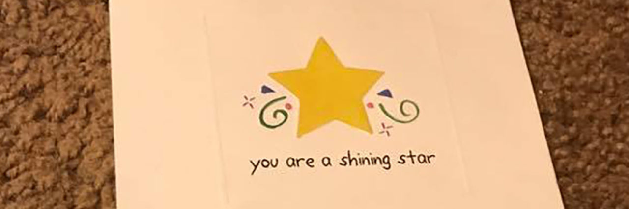 "Stationery with a star and lettering ""You are a shining star."""