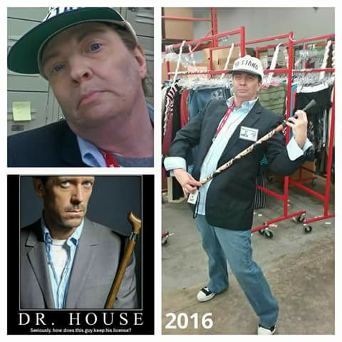 woman dressed as dr. house