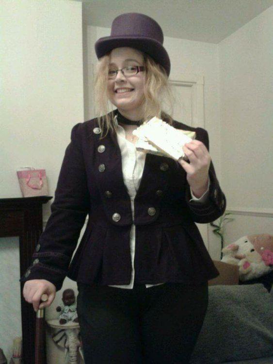 woman dressed as willy wonka