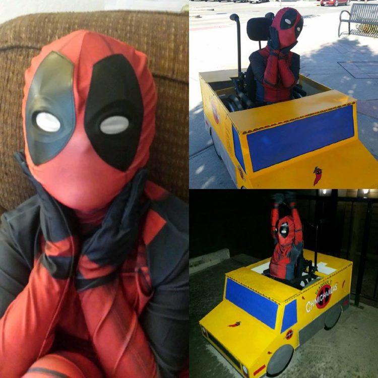 little boy dressed as deadpool