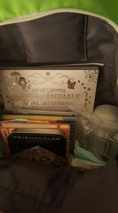 inside of bag with coloring book and pens