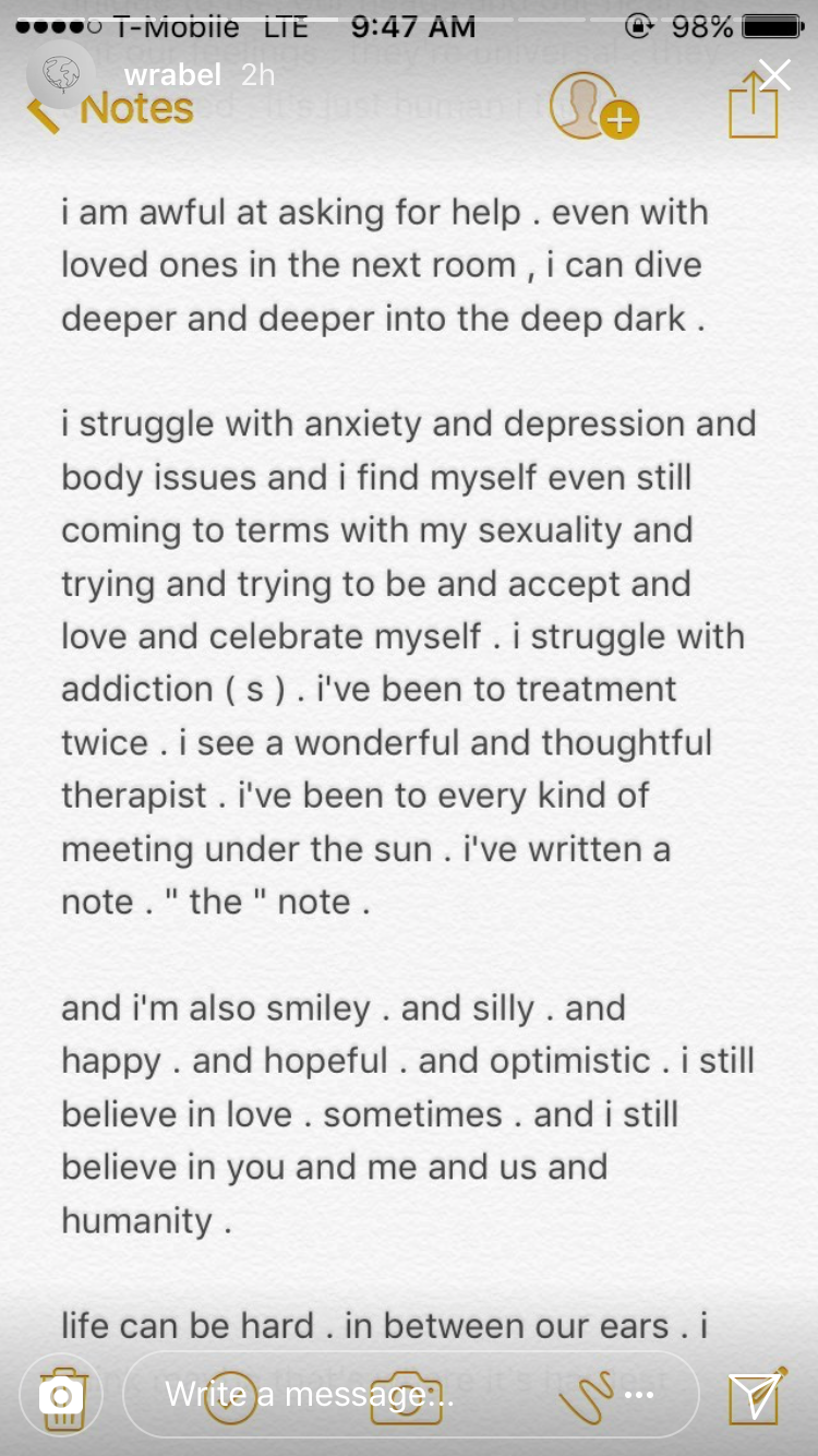wrabel mental health note continued
