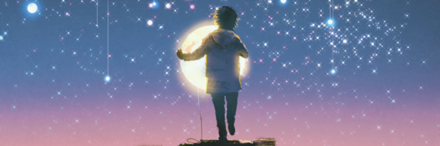 illustration of a person trying to put a star into the sky