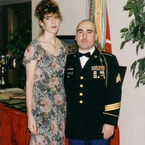 Colleen with her husband Terry in his uniform.
