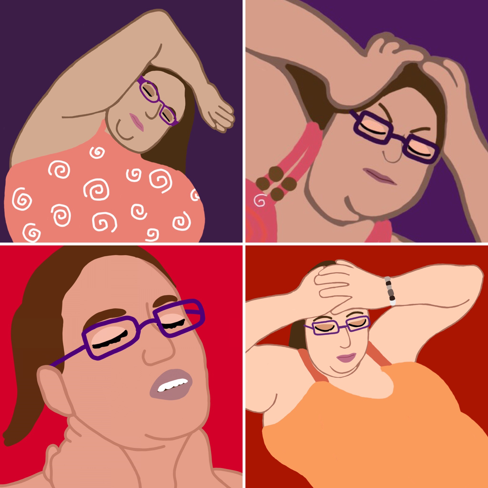 Four images in a collage of a woman struggling in pain.