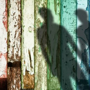 Shadow of two gay men on a rainbow weathered fence.