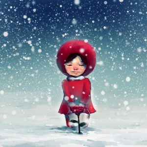 digital painting of girl kneeling on snow-covered park and looking at red roses, story telling illustration