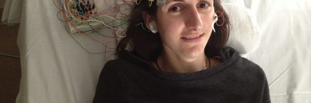 michaela oconnor at doctors appointment with wires on her head