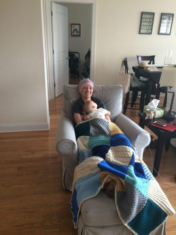 Jessica Sliwerski and Poppy snuggling