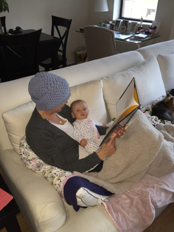 Jessica Sliwerski reading to daugther Penelope