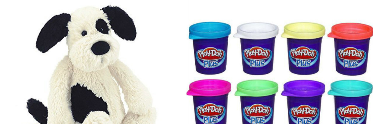 stuffed animal dog and play doh