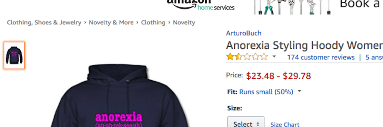 screenshot of anorexia outrage sweatshirt