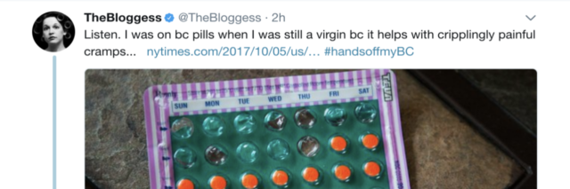 A tweet about needing birth control pills with a photo of a pack of birth control pills.