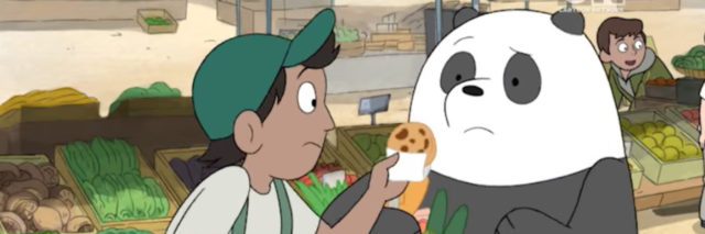 Someone offering Panda a cookie sample at a farmers market in an episode of We Bare Bears