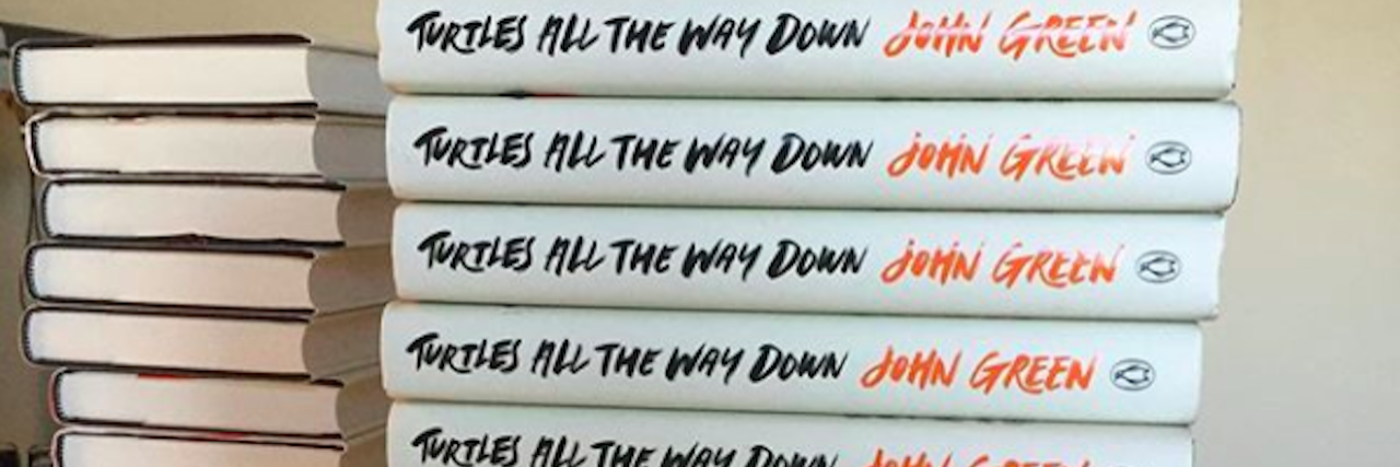 "stack of the same book, ""Turtles all the way down"""