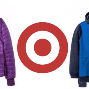 Photo of target logo and a purple jacket and blue sweatshirt