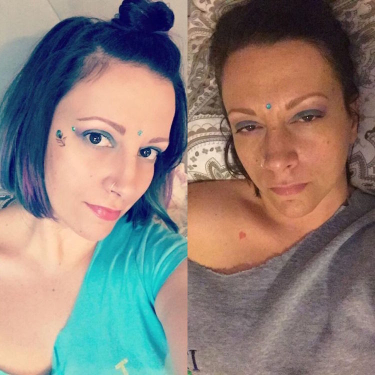 photo of woman dressed up and wearing makeup at the beginning of the day, and photo of the same woman at the end of the day lying in bed