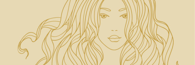 Vector portrait of a beautiful girl with long curly hair. Line art.