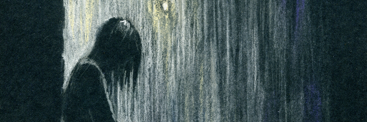 Silhouette of a woman standing in the rain. Color pastels on black textured paper.