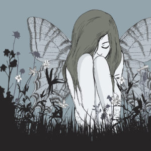 Original illustration of young woman with wings sitting in solitude in an overgrown field