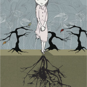 Hand drawn illustration of young girl growing roots like a tree