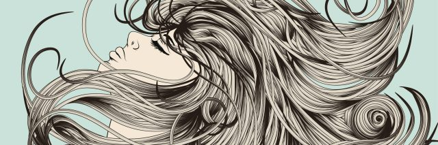 Woman's face flipping detailed hair