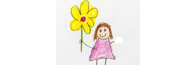 A kids drawing of a child holding a flower, with the other arm amputated.