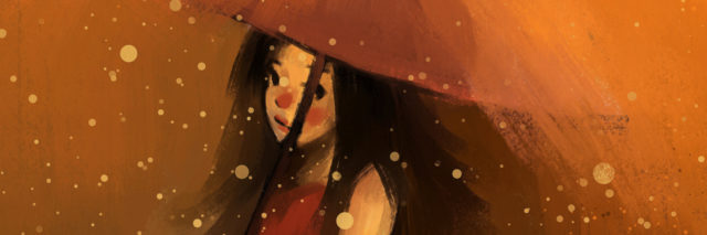 Girl in red dress with umbrella in the rain.