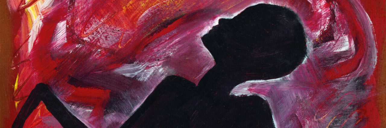 Abstract colorful painting of woman's silhouette on red artistic background