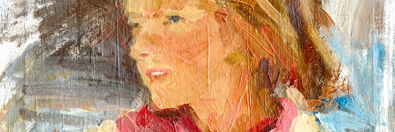 Sketch female portrait oil and brush