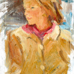 Sketch female portrait oil and brush