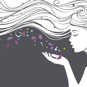 illustration of a woman blowing purple flower petals