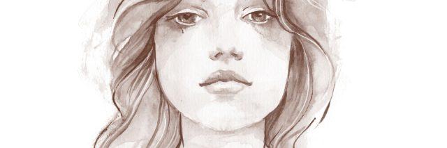 hand drawn female face