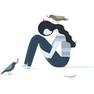 Vector illustration of a depression girl with birds that build their nests
