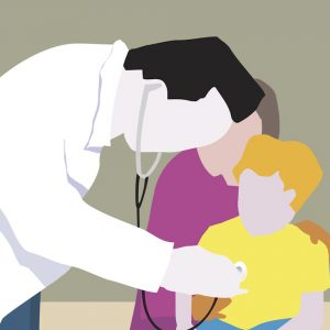 Illustration of doctor using stethoscope to listen to heart of young patient sitting on his mother's lap