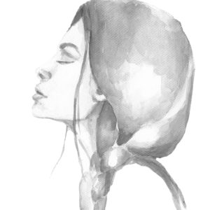 black and white watercolor painting of a woman looking up with her eyes closed